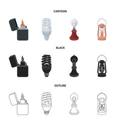 Lighter economical light bulb edison lamp vector