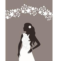 Lovely bride female in wedding dress design vector