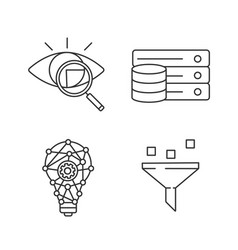 machine learning linear icons set vector image