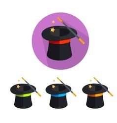 Magic hat icon set vector