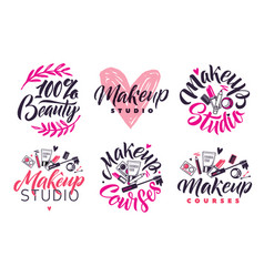 Makeup studio and courses logo set vector