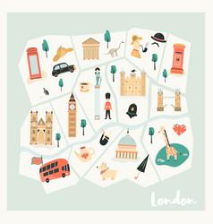 Map london with landmarks symbols vector