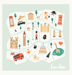 map of london with landmarks symbols vector image