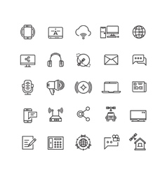 Media and communication line icons vector