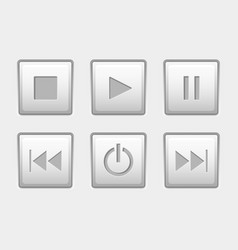 media control buttons set square white buttons vector image