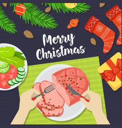 merry christmas banner person eating festive vector image