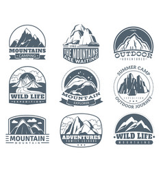 mountain emblems hiking labels with snow vector image