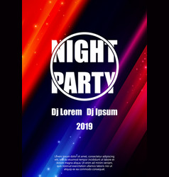 night party flyer poster template design vector image
