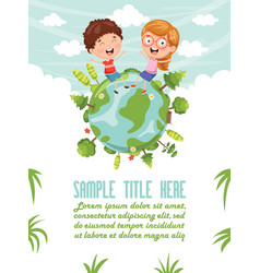 of children sitting on earth vector image