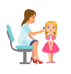 Otolaryngologist checking hearing of a little girl vector