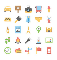 Pack of travelling and holiday flat set vector
