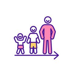 Person growing up rgb color icon vector