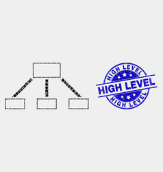 pixelated hierarchy links icon and vector image
