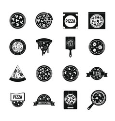 pizza icons set food simple style vector image