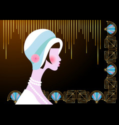 portrait flapper girl with hat art deco retro vector image