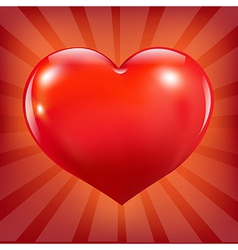 Poster With Red Heart And Sunburst vector image