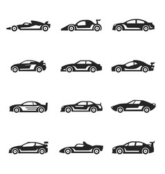 racing cars bold black silhouette icons set vector image