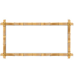 rectangle brown bamboo frame with rope and copy vector image