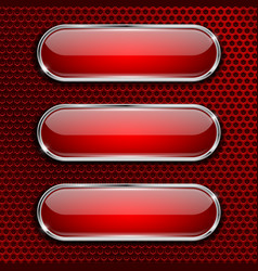 Red oval glass buttons on red metal perforated vector