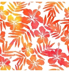 Red watercolor hibiscus seamless pattern vector image