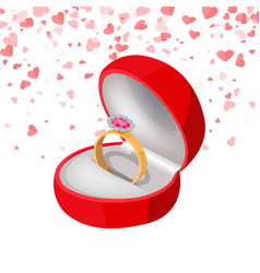 ring with diamond in box jewelry isolated vector image