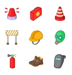 Road construction icons set cartoon style vector