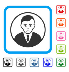 Rounded gentleman framed sadly icon vector