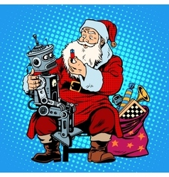 Santa Claus gift robot battery vector