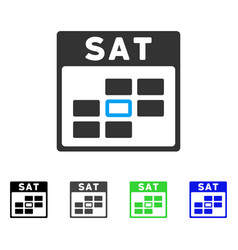 Saturday calendar grid flat icon vector