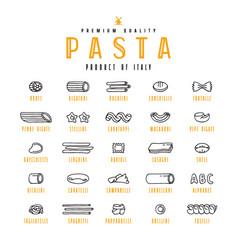 Set icons varieties pasta vector