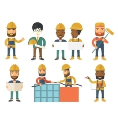 set of constructors and builders characters vector image