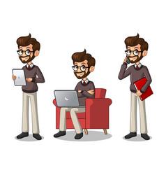 set of hipster businessman working on gadgets vector image