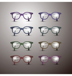 Set of Retro Glasses Isolated on Grey Background vector image