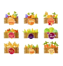 Set of Stickers Grocery Sale Fruits and Vegetables vector