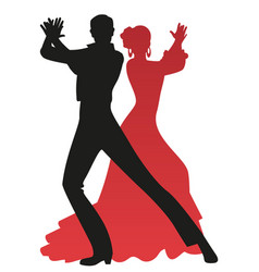 Silhouette couple flamenco dancers playing vector