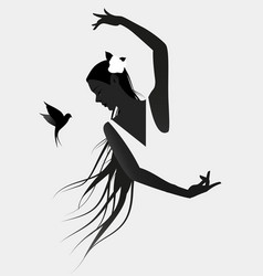 Silhouette of spanish flamenco dancer wearing a vector