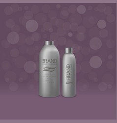 silver shampoo and foam bottles vector image