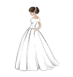 Sketch of young bride model in wedding dress vector image