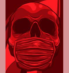 skull face in medical face mask vector image