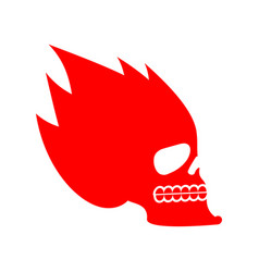 skull fire head skeleton flame flaming skull vector image