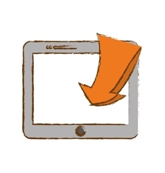 Smartphone with download arrow icon image vector