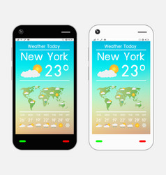 smartphone with weather application on screen vector image