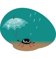 Spider with umbrella vector