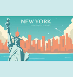 statue of liberty new york landmark and symbol of vector image