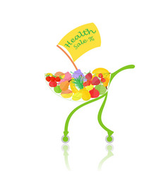 Supermarkets trolley with fruits and banner vector