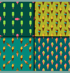 sweet cartoon cold ice cream seamless pattern vector image