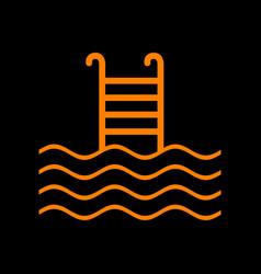Swimming pool sign orange icon on black vector