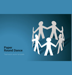 team in chain round dance vector image