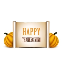 Thanksgiving banner card with empty paper scroll vector image