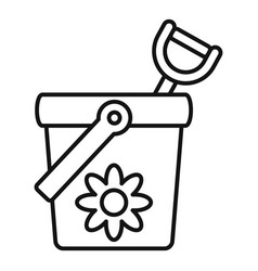 Toy bucket shovel icon outline style vector
